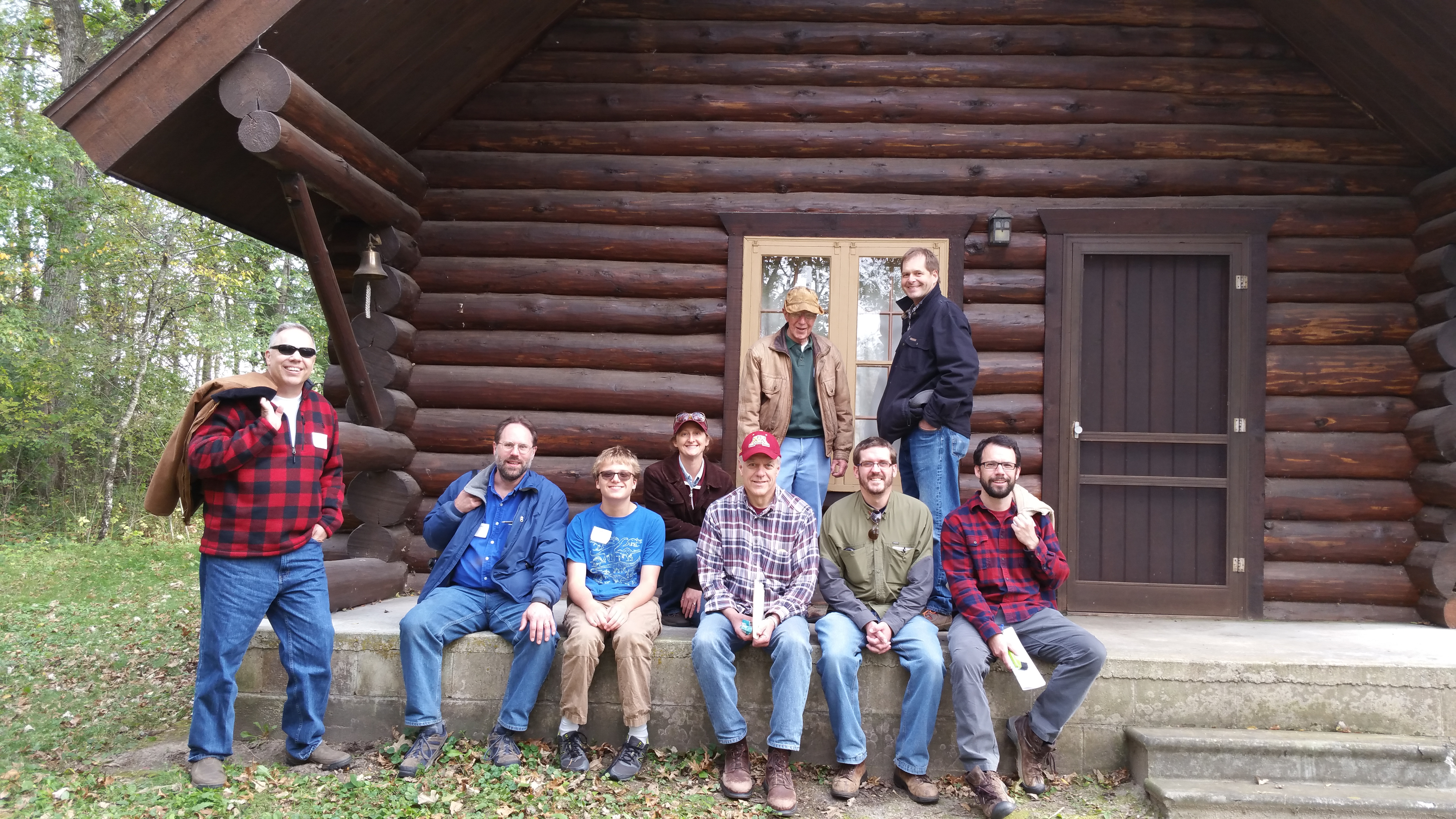A few Master Woodlands Owners and instructors gather at Dan Martin's cabin in Fountain, MN.